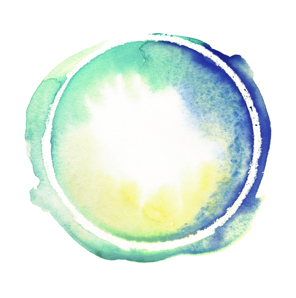 Elämänvoimakylpy - sinivihreä maapallomainen muoto vesiväreissä