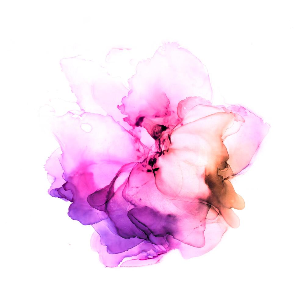 Huuhdo huolet pois - pinkki kukka vesiväreissä