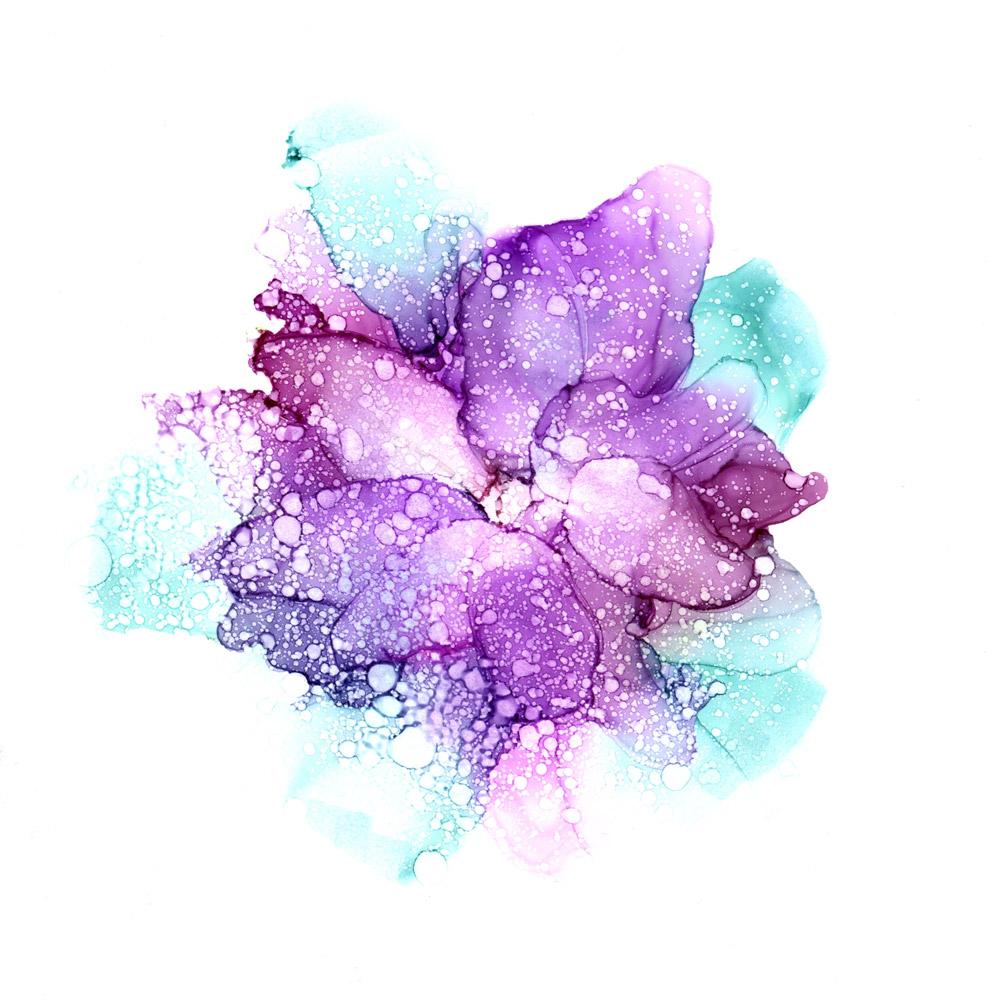 Hyvän päivän viritys - sinertävän lila herkkä klemantis kukka vesiväreissä
