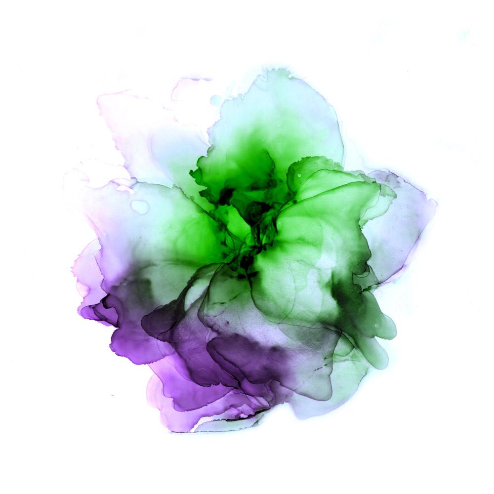 Olet turvassa - herkkä sinivihreä kukka vesiväreissä