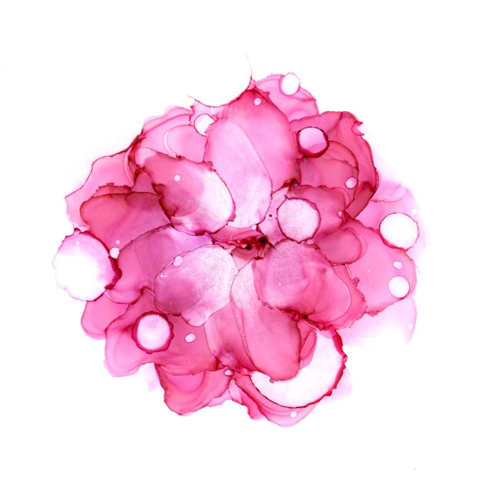 Sinä riität - pinkki kukka vesiväreissä