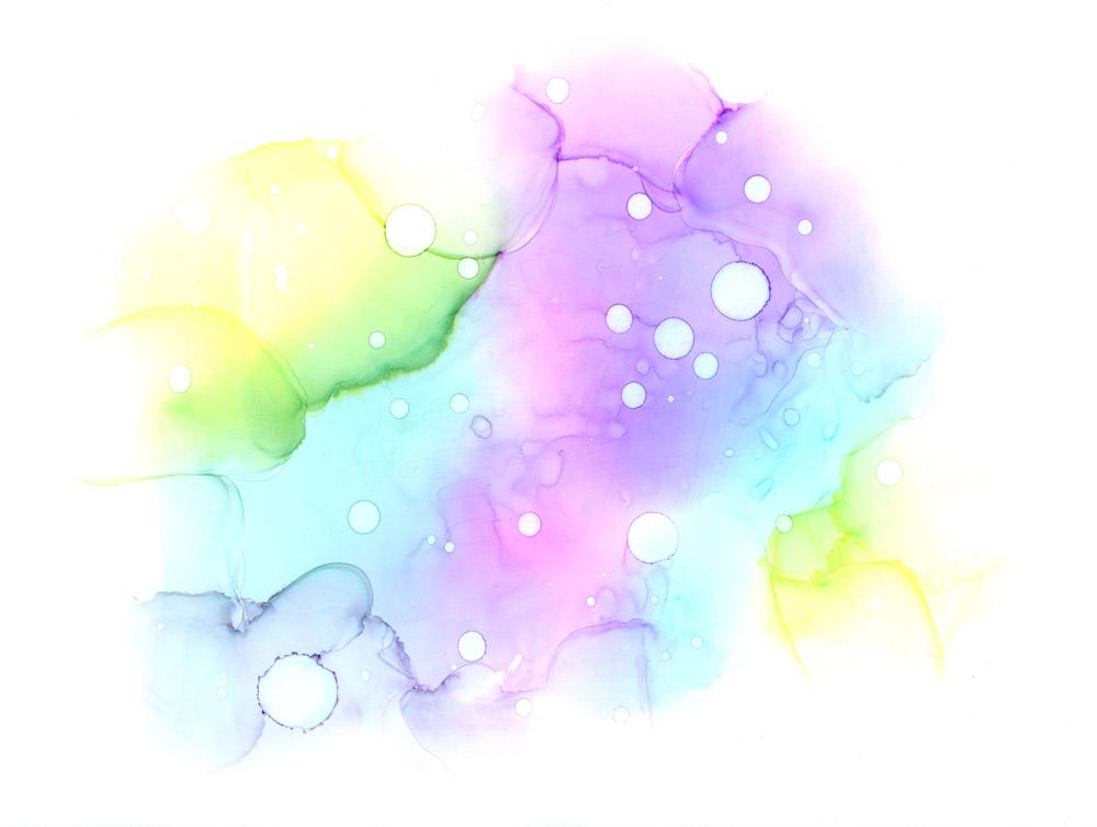 Unentuoja - sinikeltainen unenomainen tunnelmapilvi vesiväreissä