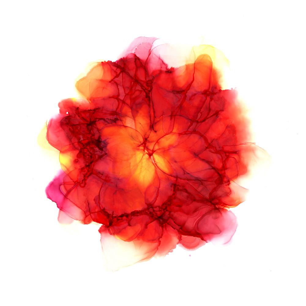 Väennostatus - punainen kukka vesiväreissä